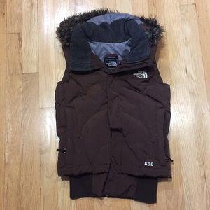 North Face XS faux fur fringe goose down 600 vest